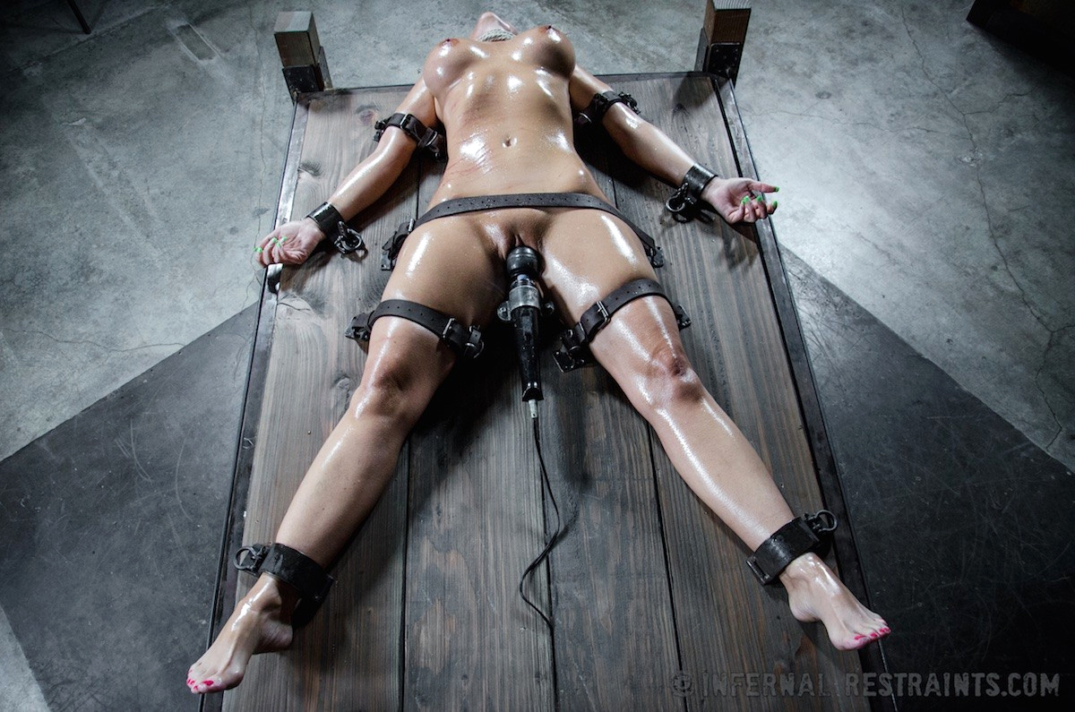 Painful restraints orgasm leather cries